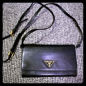 Prada wallet crossover calf skin leather